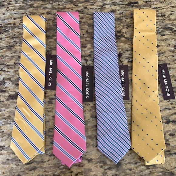 NWT 4 Michael Kors Men's Silk Ties Pink Yellow